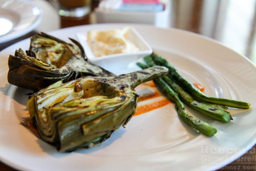 Scratch grilled artichoke