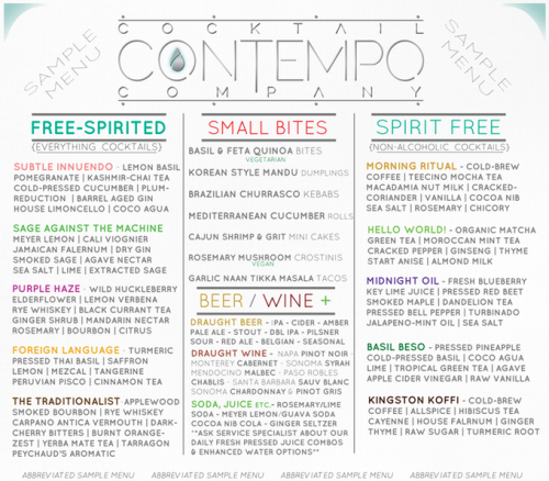Contempo Cocktail menu