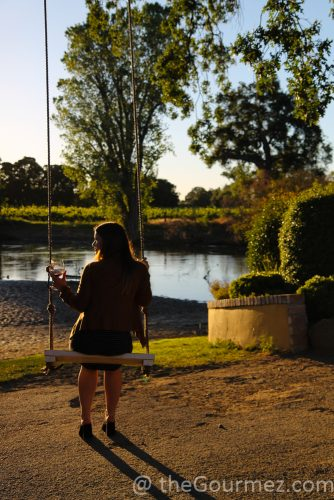 viaggio, swing from bnhind, swingset, old fashioned swing, golden hour, sunset, viaggio estate, viaggio winery