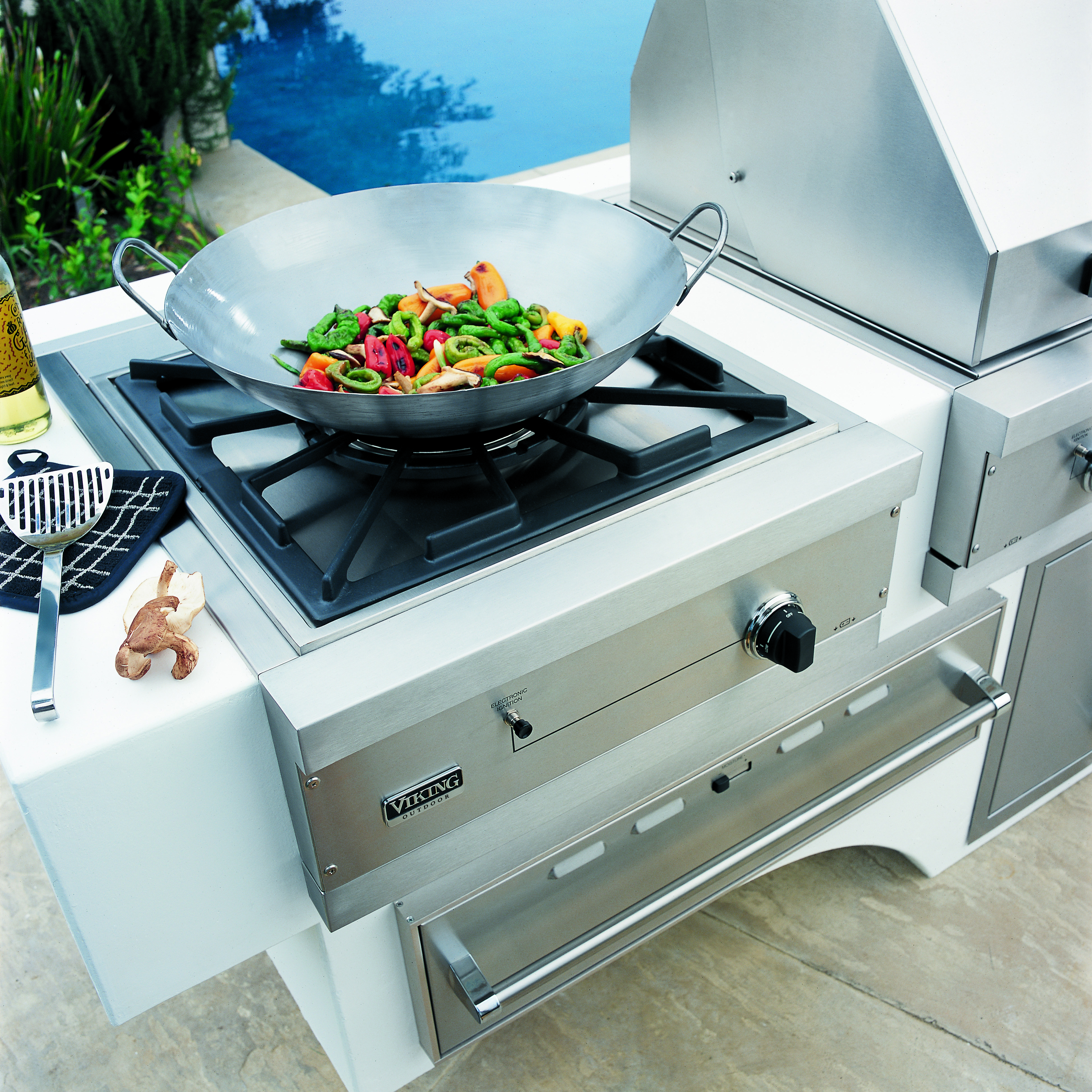 Viking 24 in built in stainless steel gas outdoor wok for Viking built in grill