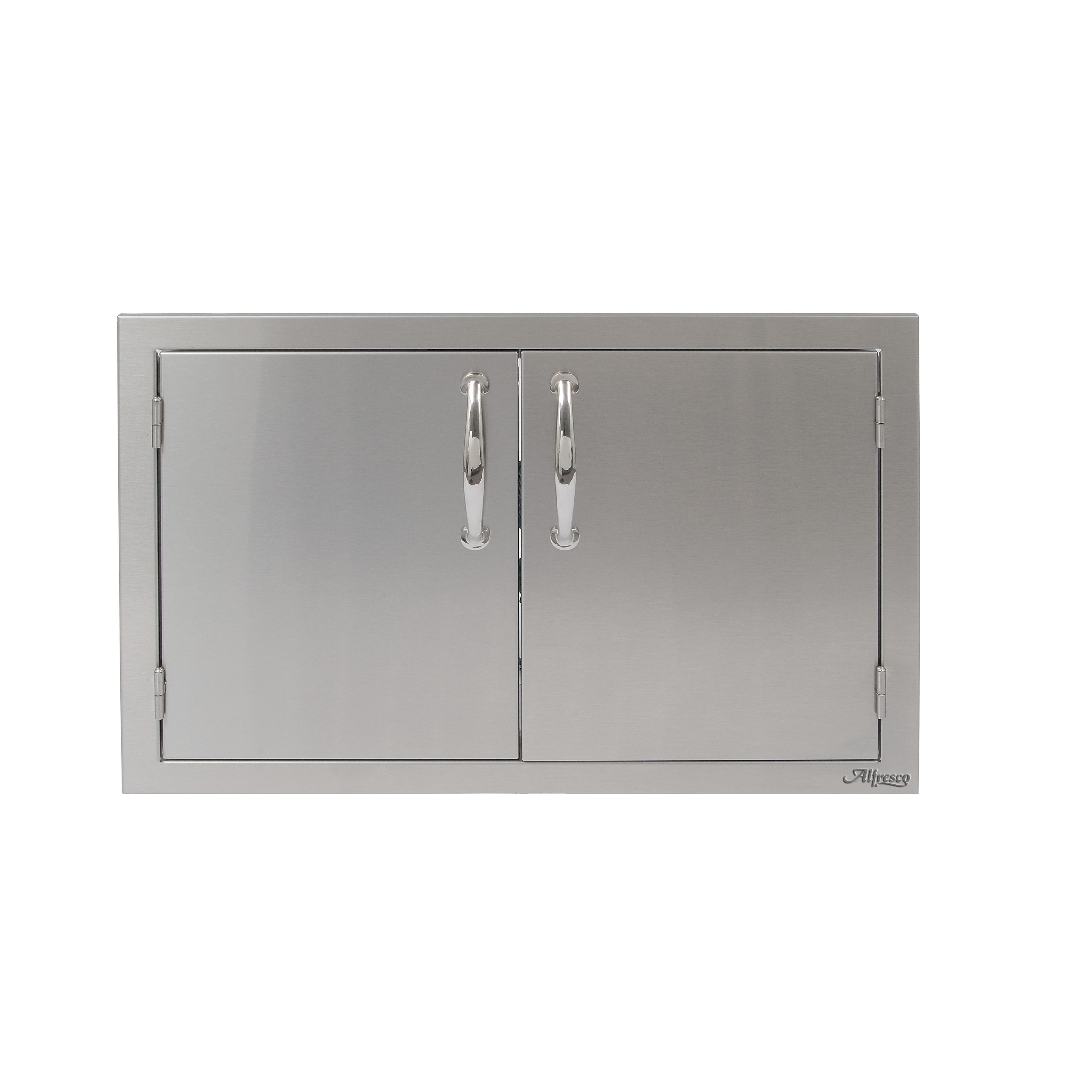 3872 #6A6A61 Alfresco 30 In. Stainless Steel Double Door TheGrillFather.com image Double Metal Doors 43633872