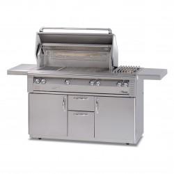 Alfresco 56-in. Standard Gas Grill w/Sideburner & Rotisserie on Cart ALX2-56C