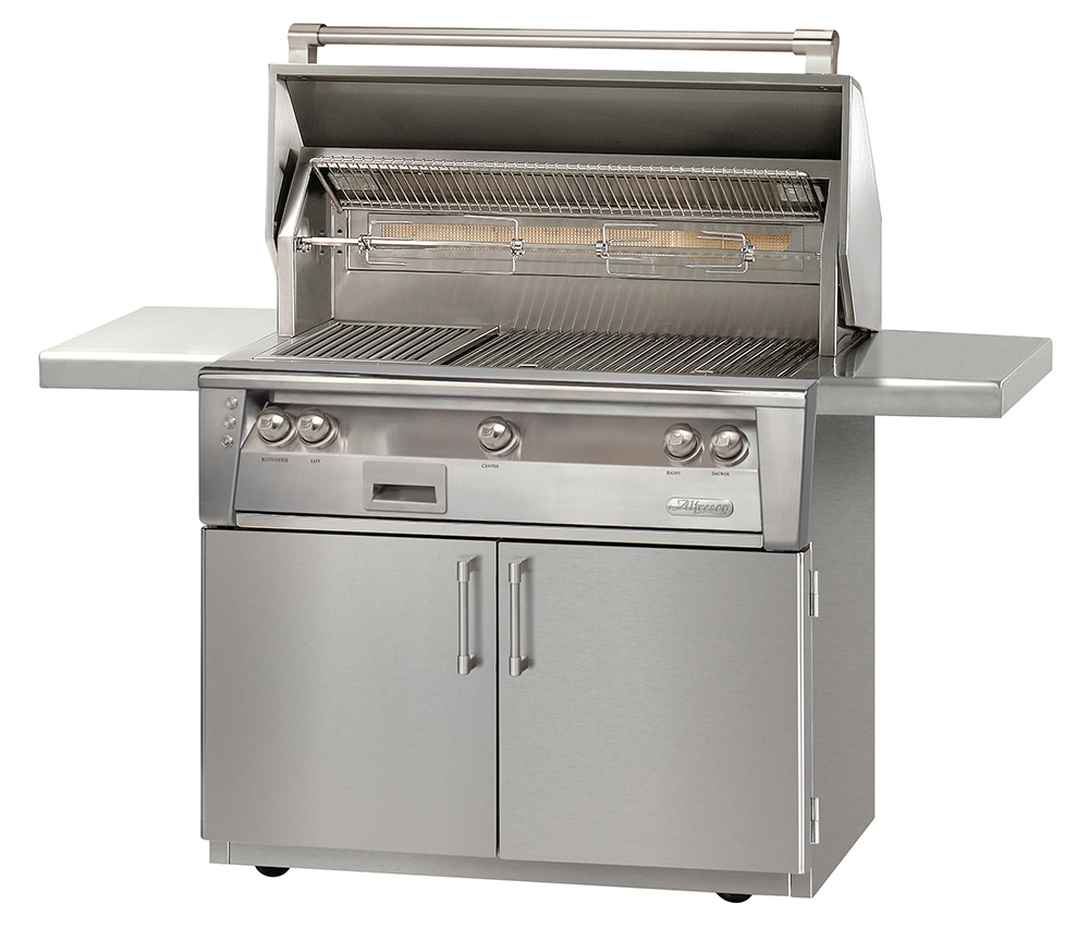Gas Grill Rotisserie ~ Alfresco in standard gas grill with sideburner and
