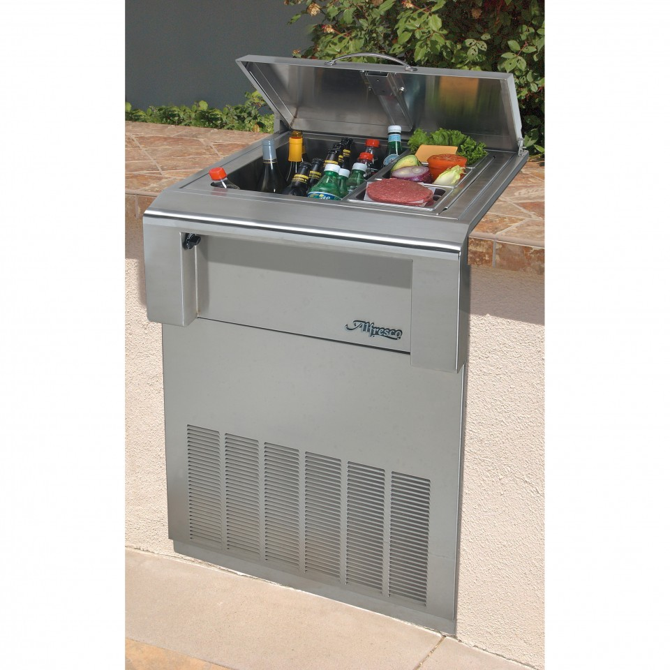 Alfresco 24 in built in drop in refrigerator for Drop in cooler for outdoor kitchen