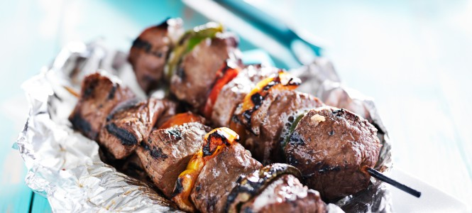 grilled beef steak shish kabobs on tin foil