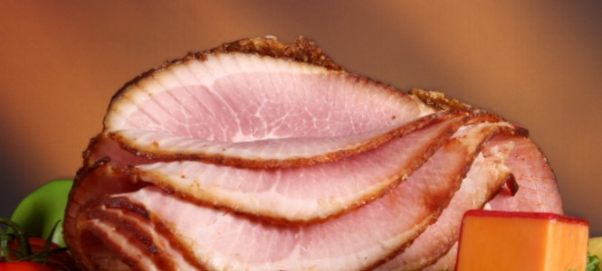 Close up of a holiday ham dinner