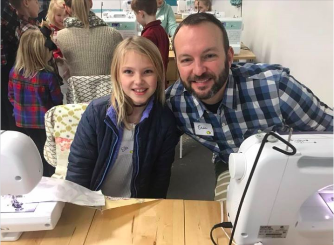 Ella and Eric at Sew Quilts