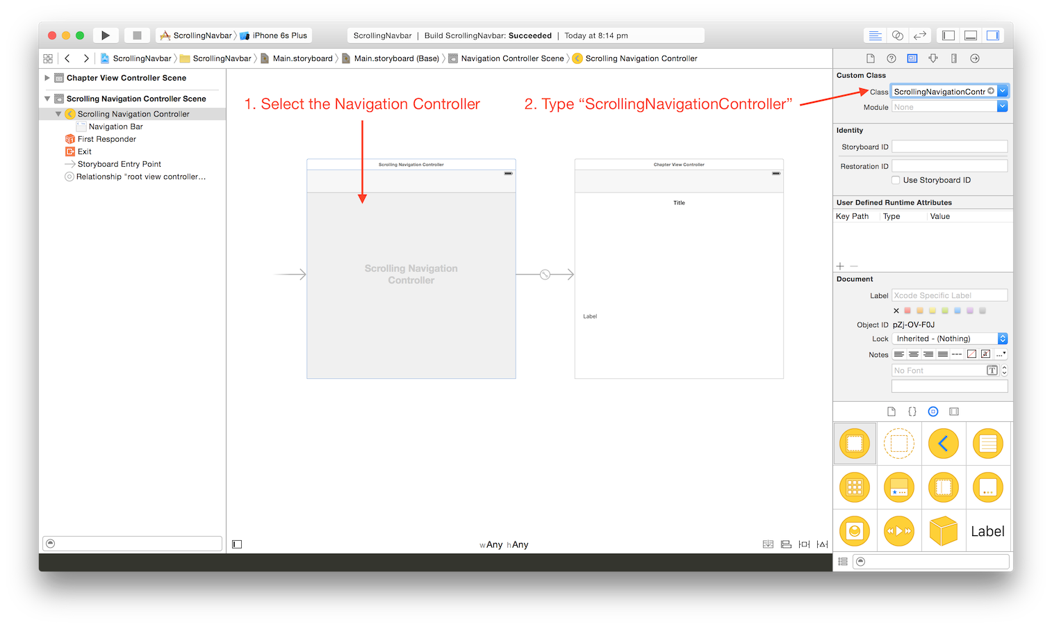 How to set the proper navigation controller subclass from Storyboard