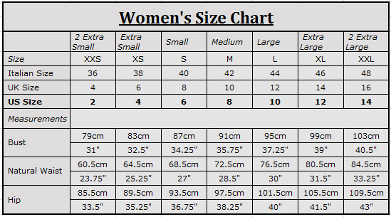 Height Weight Chest Waist; XXS (5) in / cm: lbs / kg: in / cm: in / cm: XS (6) in / cm: lbs / kg.