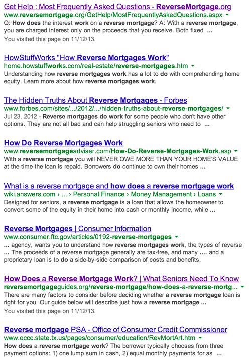 reverse mortgage marketing serp