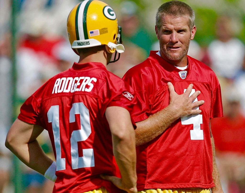 Image result for brett favre and aaron rodgers photos
