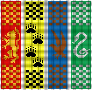 Hogwarts Double-Knitted Bookscarves chart