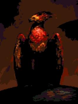 Fawkes the Phoenix (v2) cross-stitch chart