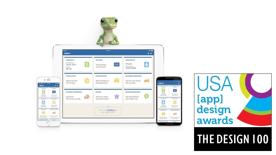 Geico mobile wins in 2015 app design awards usa news for Design agency usa