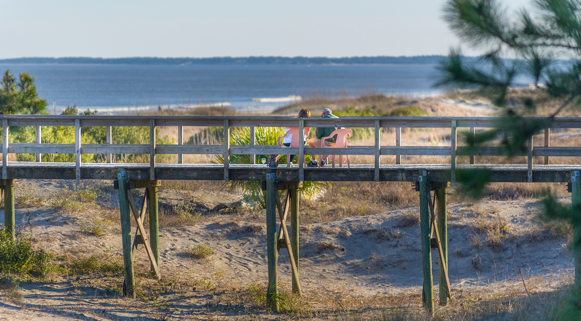 Couple enjoying beach view of Jekyll Island