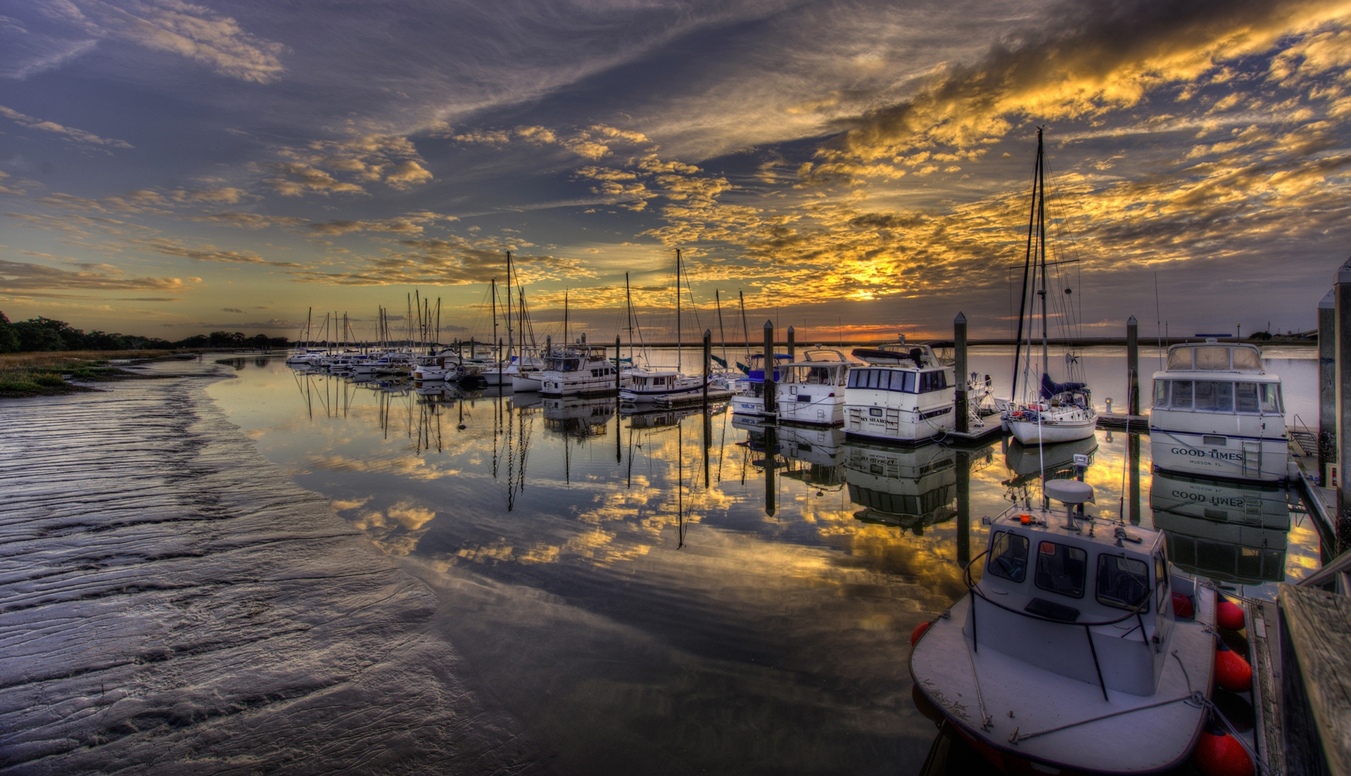Sunset view of boats at Jekyll Harbor