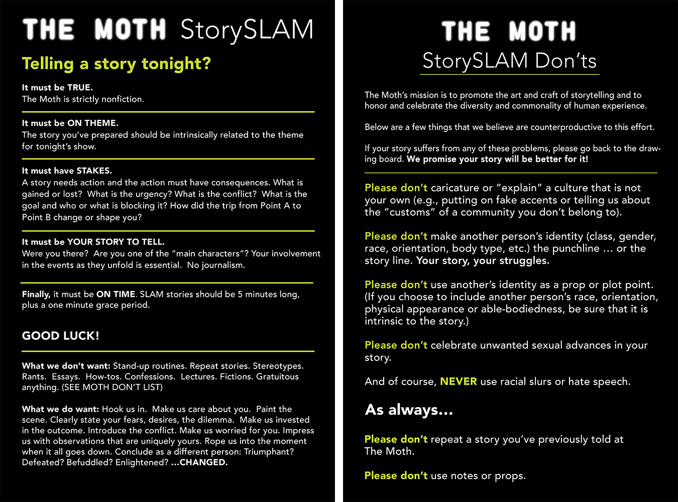 The Moth | Storytelling Tips & Tricks