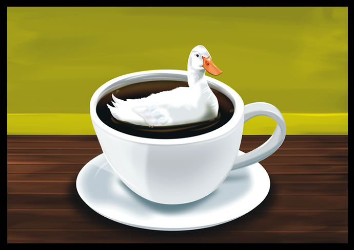 There's a duck in my coffee