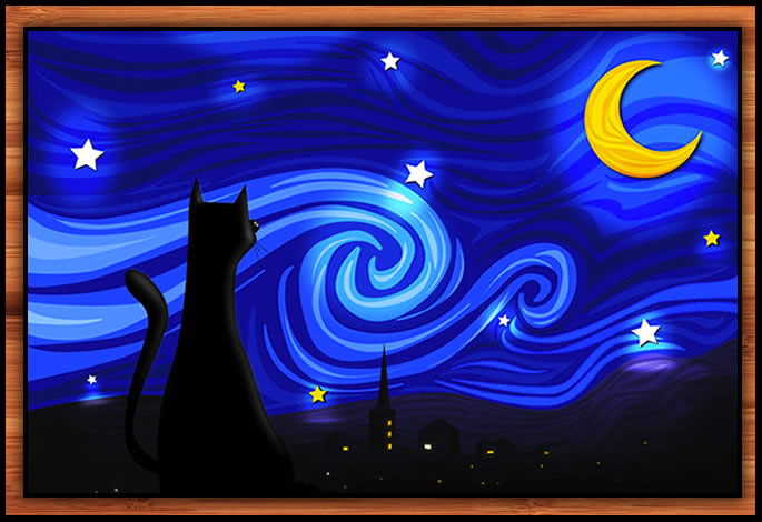 Starry Cat signed print
