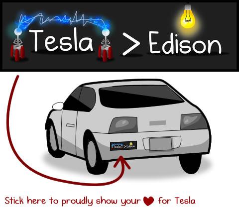 Tesla versus Edison bumper sticker