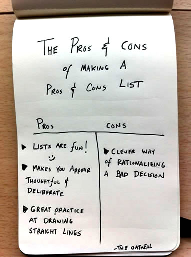 The Pros And Cons Of Making A Pros And Cons List The Oatmeal