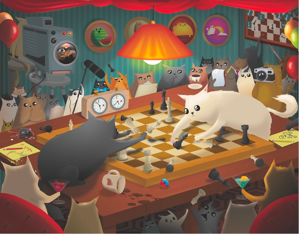 Cats playing chess puzzle