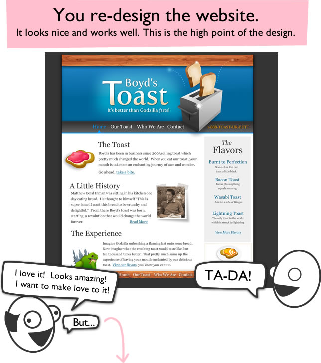 How A Web Design Goes Straight To Hell The Oatmeal