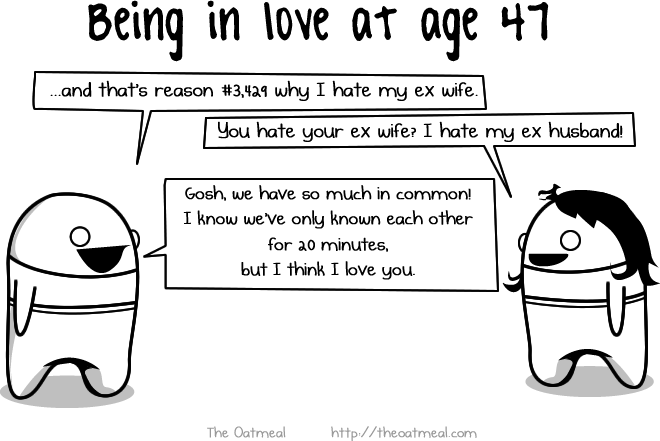 being in love at various ages the oatmeal