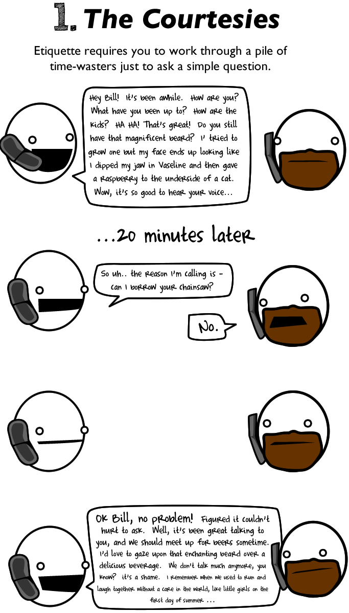 Why Are We Talking About This In White >> 10 Reasons To Avoid Talking On The Phone The Oatmeal