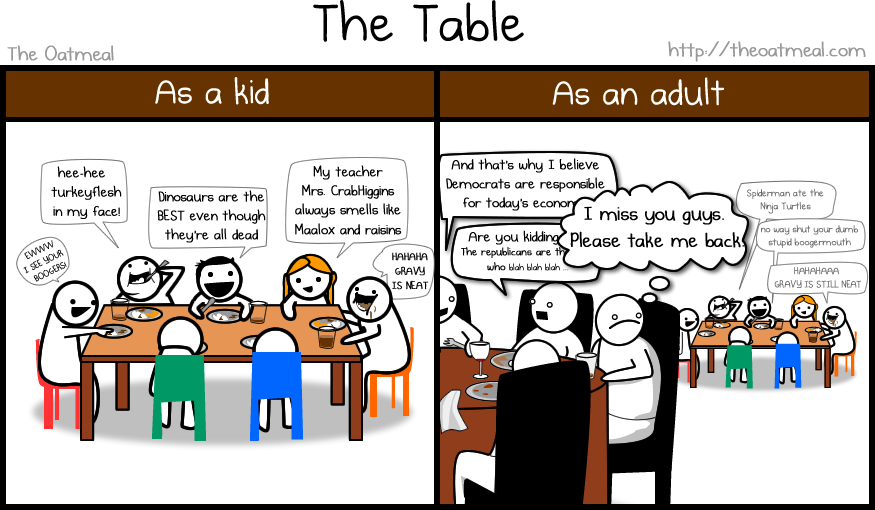 I miss the kids' table