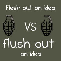 Flesh out an idea VS flush out an idea
