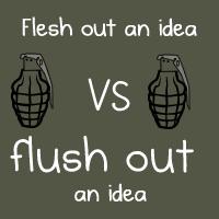 Flesh out an idea VS flush out an idea