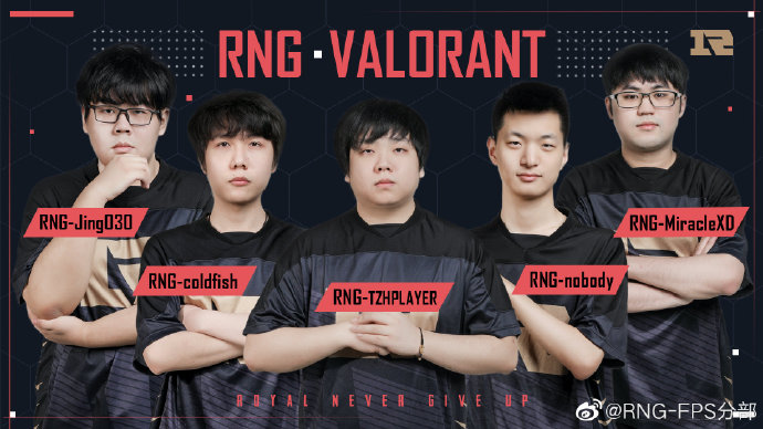 Some members of Royal Never Give Up VALORANT. Jing is no longer part of the team. ⓒ RNG-FPS分部 Weibo.