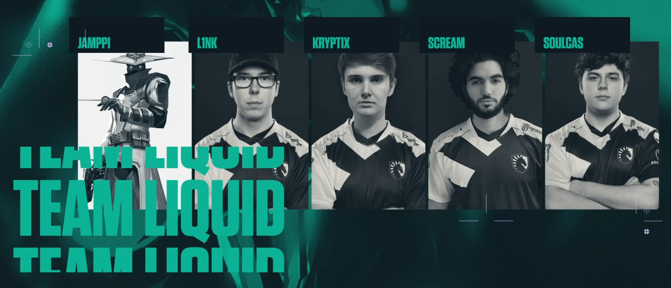 Team Liquid's VALORANT roster. Screengrab from VALORANT on Twitch.