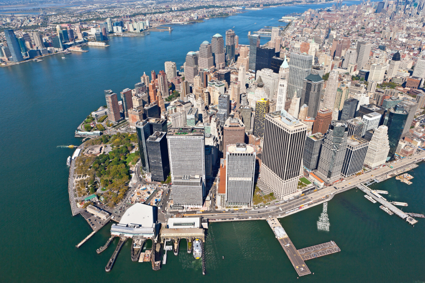 Aerial view of lower Manhattan and Financial District office buildings