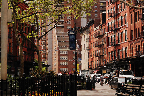 Street-level daytime view of residential area in TriBeCa