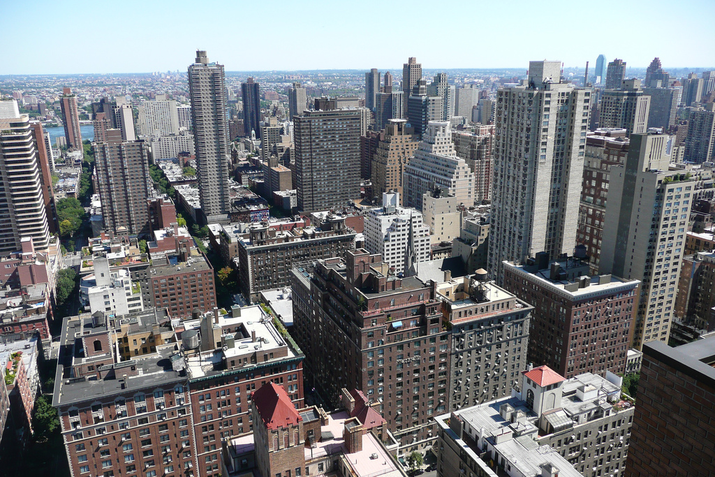 Aerial view of skyscrapers and buildings in Upper East Side Manhattan