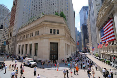 Daytime view of Wall Street, outside New York Stock Exchange