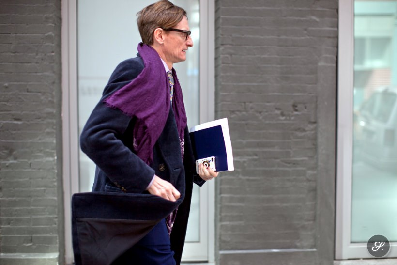 Street style photo of Hamish Bowles during New York Fashion Week.