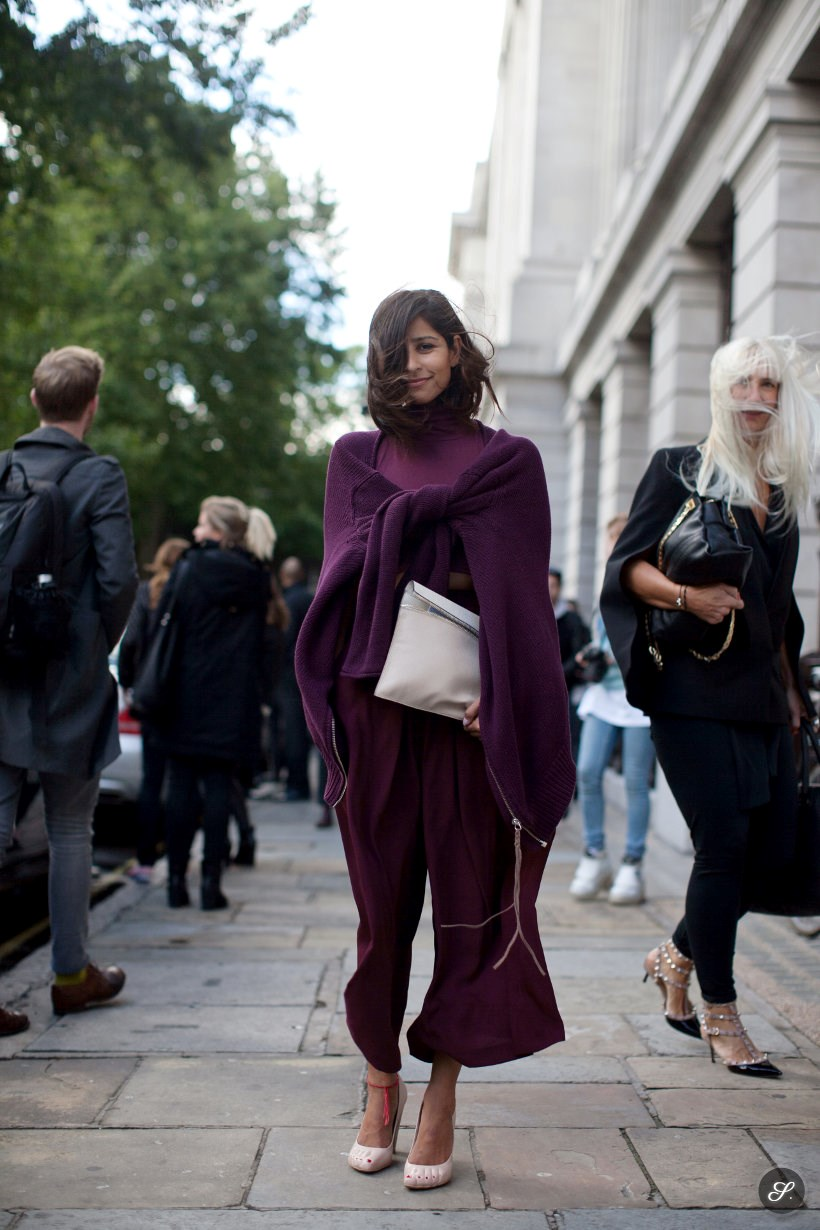 women wearing puple clothes during london fashion week