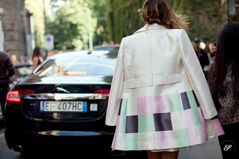 women wearing colorful jacket with a nice pattern during Milan Fashion Week