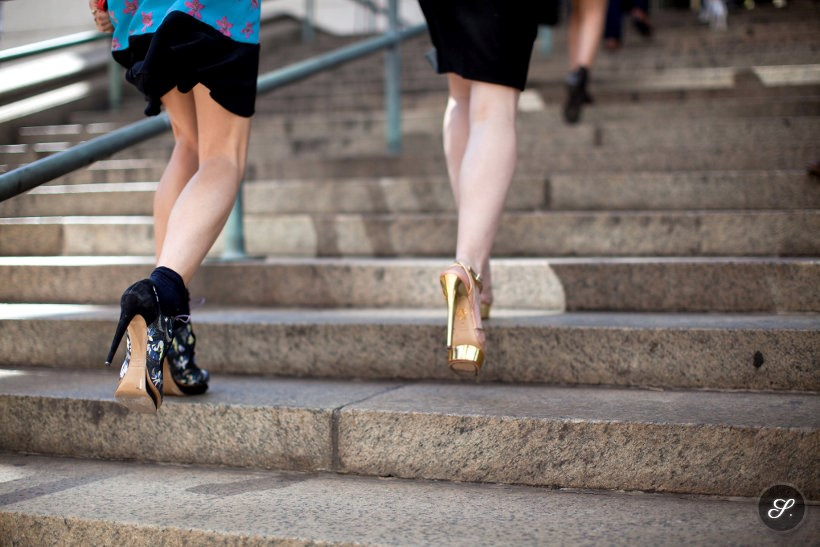 Women wearing heels on a street style moment taken during New York Fashion Week.