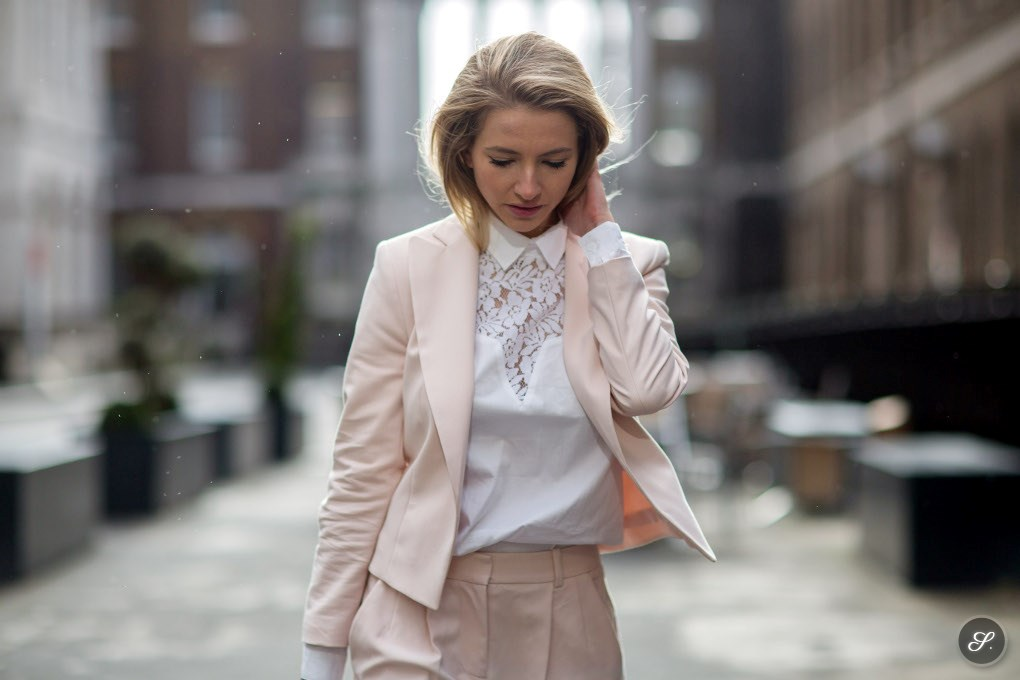 sophia marinho de lemos of Girl in Menswear during London Fashion Week street style lfw women wearing suit