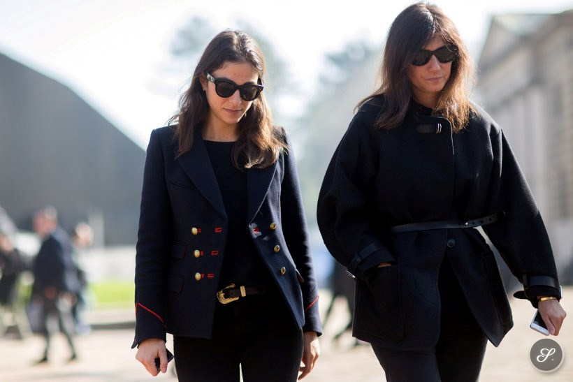 street style photo of Capucine Safyurtlu & Emmanuelle Alt after Roberto Cavalli during Milan Women's Fashion Week Fall/Winter 2014 representing french chic