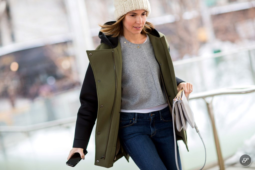 women on a winter street style photo taken during New York Fashion Week