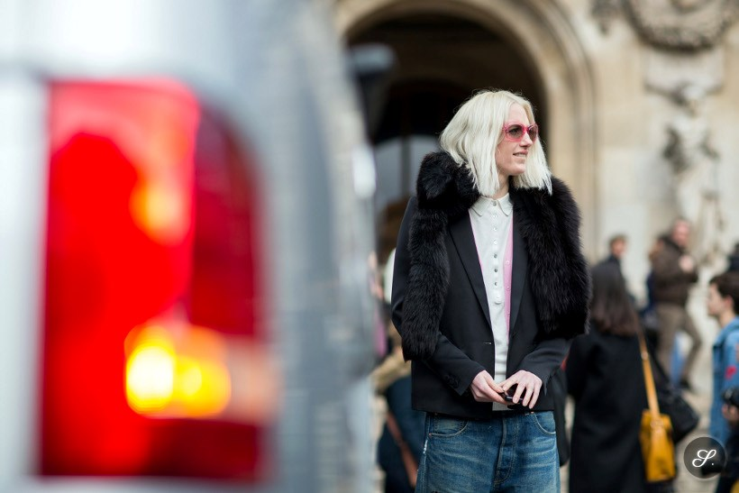 street style photo of Fashion editor/stylist Phoebe Arnold after Stella McCartney during Paris Ready to Wear Women's Fashion Week.