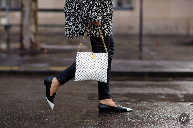 Lise Grendene before Balmain during Paris Women's Fashion Week Fall/Winter 2014. brazilan blogger lise is wearing miu miu shoes on a rainy day in paris