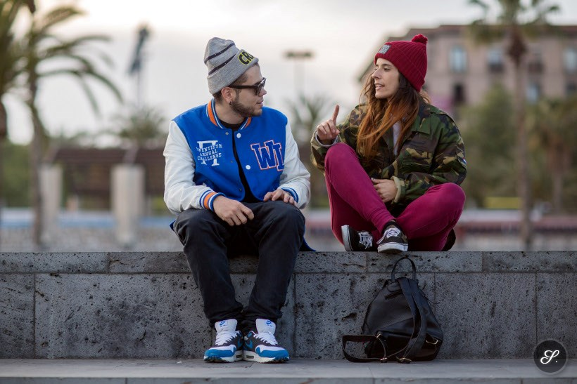 Kalone & Laura on a street style photo taken in Barcelona wearing street wear