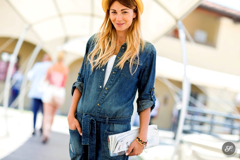 Linda Santaguida wearing a denim jumpsuit for women during Pitti Uomo 2014 in Florence.