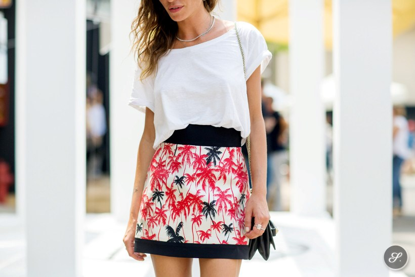 Elena Margotti wearing a printed summer skirt on a street style photo taken during Pitti Uomo in Florence Summer 2014.